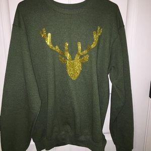 army green reindeer sweatshirt